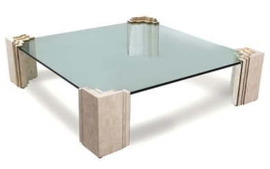 A Contemporary Tesselated Stone and Brass Glass Top Coffee Table