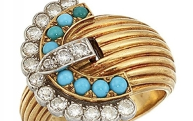 A diamond and turquoise buckle ring, with...