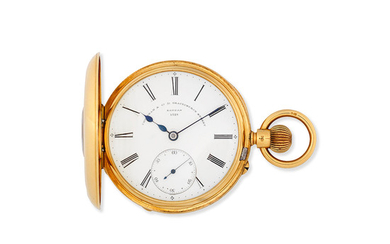 Frodsham & Co, 31 Gracechurch Street, London. An 18K gold keyless wind half hunter pocket watch