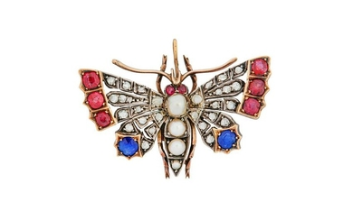 A gem-set butterfly, late 19th century