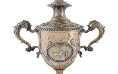 A George III silver-gilt equestrian trophy, 'Doncaster Cup' Daniel...