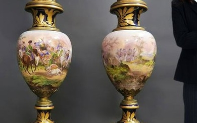A Pair of Monumental Napoleon Sevres Vases, 19th C.