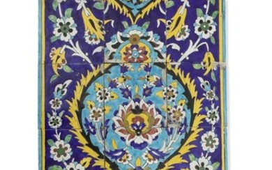 A polychrome glazed decorative tile panel