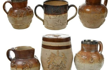 Six Sprig Decorated Saltglazed Stoneware Vessels