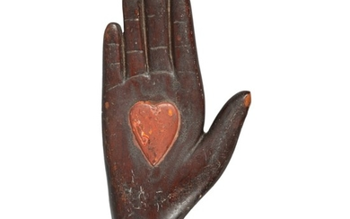 VERY RARE ODD FELLOWS CARVED AND PAINTED CEREMONIAL HEART-IN-HAND STAFF, FLORIDA, CIRCA 1890