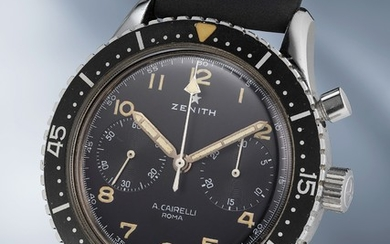 Zenith, A very rare, oversized and attractive stainless steel chronograph wristwatch made for the Italian Air Force