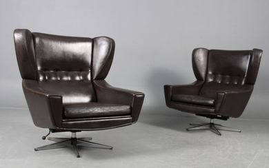 Sven Skipper - 1960's set of 2 lounge armchairs in brown leather