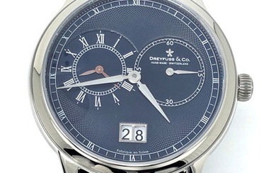 "Dreyfuss & Co. - 1946 GMT 2 Timezones Blue Dial ""NO RESERVE PRICE"" - DGS00120/05 - Men - BRAND NEW"