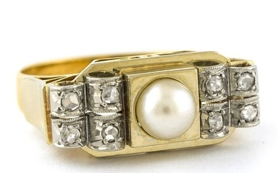 18 kt. White gold, Yellow gold - Ring Pearl - Diamonds