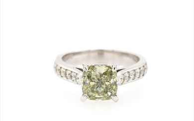 14 kt. White gold - Ring - 3.04 ct Diamond - Fancy Intense Yellowish Green - SI1 - No Reserve Price
