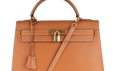 Hermès - Kelly 32 sellier en cuir Chamonix Gold Crossbody bag