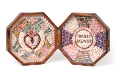 A Sailor's Shellwork Double Valentine, circa 1860, worked in coloured...