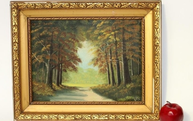 Oil on canvas landscape forest path