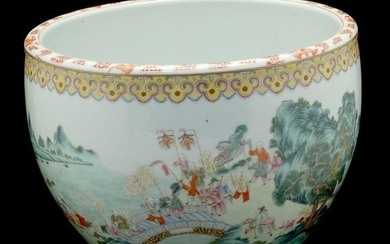 Famille Rose Enameled Jardiniere with Children at Play