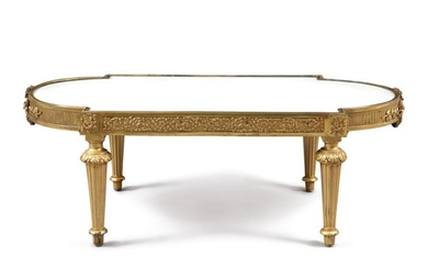 A LOUIS XVI STYLE GILT BRONZE AND WHITE MARBLE LOW TABLE, 19TH CENTURY