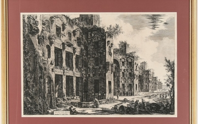 Pirnesi, Giovanni: THE BATHS OF DIOCLETIAN: INTERIOR OF FRIGIDARIUM, SOUTH WALL; Year 1774