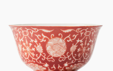 A fine coral-red reverse decorated 'floral' bowl