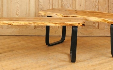 PAIR IRON BENCHES WOOD TOPS FREE FORM EDGES