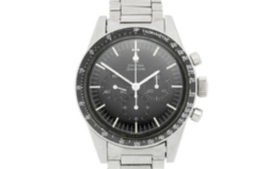 Omega. A stainless steel manual wind chronograph bracelet watch