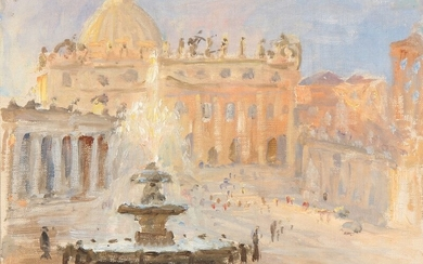 Peter Busch: View from St. Peter's Basilica in Rome. Signed P. Busch. Oil on canvas laid on panel. 26×35.5 cm.