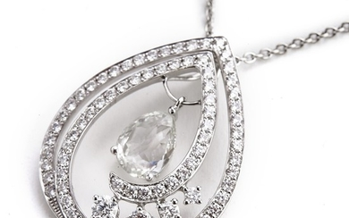 Hartmann's: A diamond pendant with a rose-cut diamond weighing app. 1.08 ct. and brilliant-cut diamonds weighing app. 1.43 ct., mounted in 18k white gold.