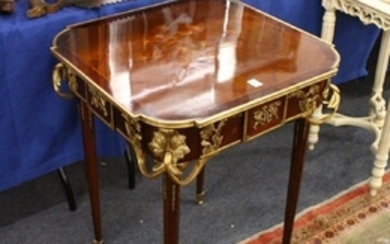 A LOUIS XVITH DESIGN SQUARE TOP TABLE, with marquetry