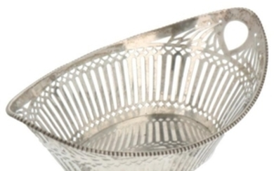 Bonbon basket oval openwork model with soldered pearl edges silver.