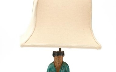 Chinese Glazed Pottery Ancestor Figure Table Lamp