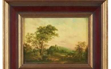 Pair of small landscape in oil on board by...
