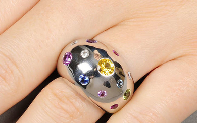An 18ct gold diamond and gem-set bombe ring.