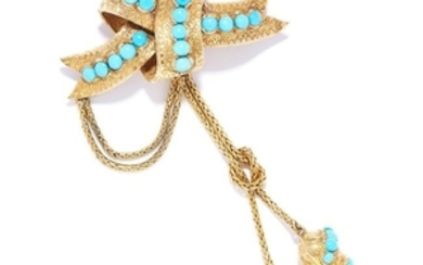 ANTIQUE TURQUOISE HAIRWORK MORNING BROOCH, 19TH CENTURY