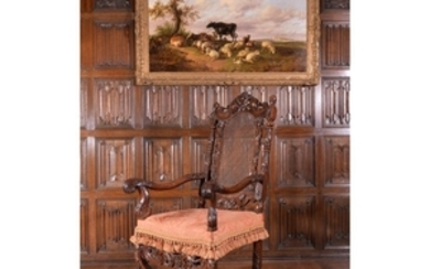 A Charles II carved walnut armchair, circa 1680