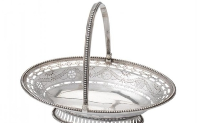 A George III silver oval small basket by William Plummer