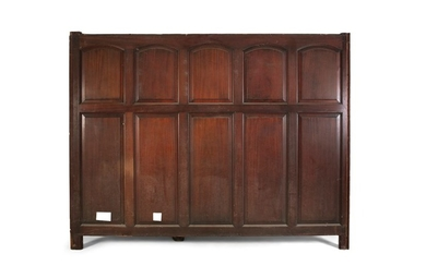 A QUANTITY OF MAHOGANY PANNELLED TIMBER WAINSCOTTI…