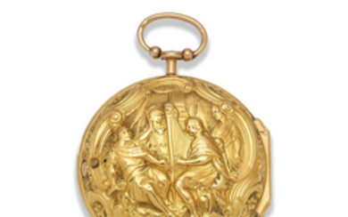 Rayment, London. A gold key wind pair case pocket watch with repousse decoration