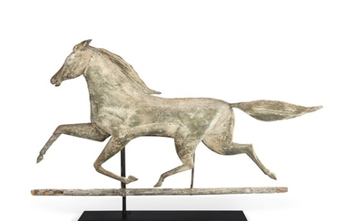 VERY FINE AND RARE CARVED FULL BODIED PINE HORSE WEATHERVANE, NORTHEASTERN UNITED STATES, LATE 19TH CENTURY