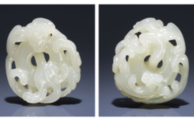 A WHITE JADE RETICULATED 'DOUBLE CHILONG' PENDANT, 17TH-18TH CENTURY