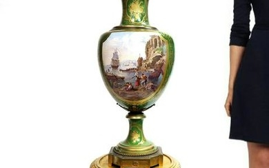 19th C. Monumental Hand Painted Sevres Vase