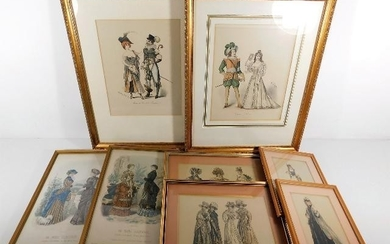 A quantity of framed 19thC. fashion prints including four by...