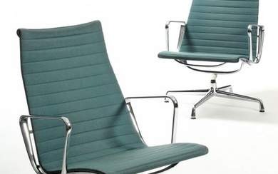 Charles & Ray Eames. A pair of armchairs, model Aluminium Group EA 116 (2)