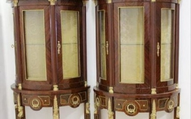 Pair Of French Empire Style Inlaid Cabinets