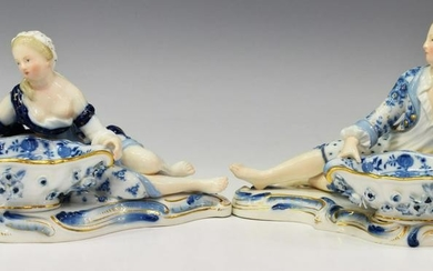 (2) MEISSEN PORCELAIN FIGURAL SWEETMEAT DISHES