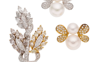 Diamond, Colored Diamond, Cultured Pearl, Gold Brooches The lot...