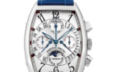 Franck Muller. A White Gold Retrograde Perpetual Calender Chronograph Wristwatch with Moon Phases and Leap Year Indication