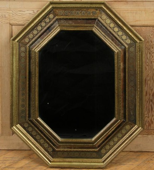 BRASS SURFACED OCTAGONAL MIRROR INLAID FLOWERS