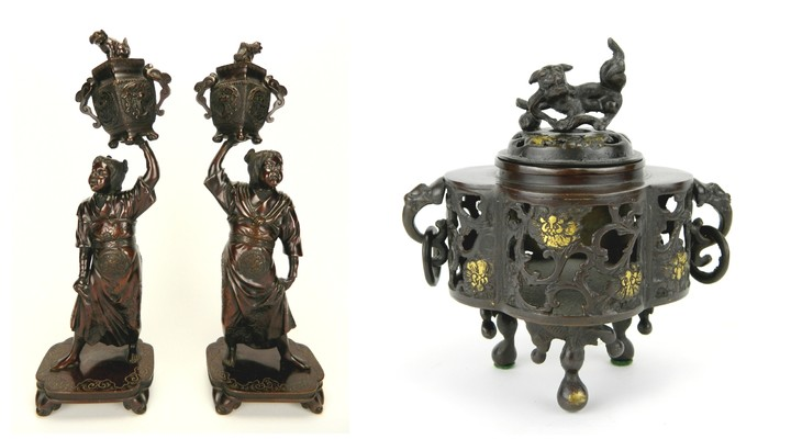 Pair of Chinese bronze figural candle holders