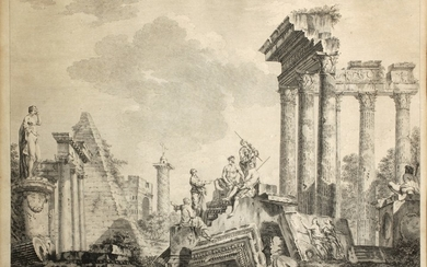 Johann Sebastian Müller (After Giovanni Paolo Panini): Roman Ruins with the Temple of Peace and Constantine's Column, year 1753