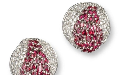 A pair of ruby and diamond bombé earrings, pavé se…
