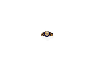 A 19th century enamel and seed pearl mourning ring