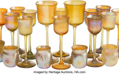 A Group of Tiffany Favrile Glass Table Articles (circa 1900)